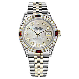 Rolex Datejust Stainless Steel/ 18K Gold White Mother Of Pearl Dial wRuby & Diamond 36mm Womens Watch
