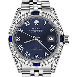 Rolex Datejust Navy Blue Roman Numeral Dial with Sapphire & Diamond Bezel 26mm Unisex Watch