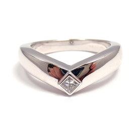 Cartier 18K White Gold & Diamond Ballerine Band Ring Size 6.75