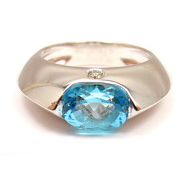Piaget 18K White Gold with Diamond & Blue Topaz Modern Dome Ring Size 6.75