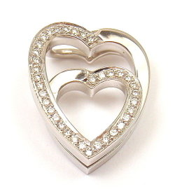 Cartier 18K White Gold with 0.25ct Diamond Double Heart Pendant