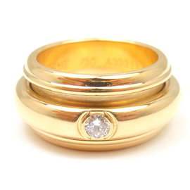 Piaget 18K Yellow Gold with .15ct Diamond Possession Bandeau Ring Size 6.5