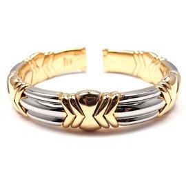 Bulgari 18K Yellow Gold and Stainless Steel Bangle Bracelet