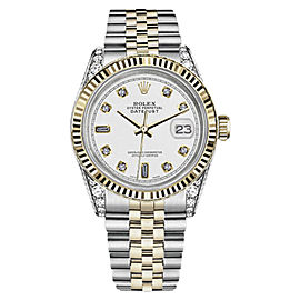 Rolex Datejust Stainless Steel and Yellow Gold with White Dial 31mm Unisex Watch
