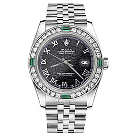 Rolex Datejust Stainless Steel With Black Roman Dial 31mm Womens Watch