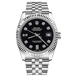 Rolex Datejust Stainless Steel Black Dial wDiamonds 36mm Womens Watch
