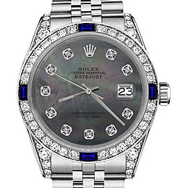 Rolex Datejust Black Mother Of Pearl Dial with Sapphire & Diamond Bezel 26mm Unisex Watch