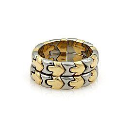 Bulgari Parentesi 18K Yellow Gold & Stainless Steel Double Stack Flex Band Ring Size 7
