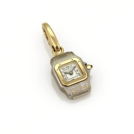 Cartier Santos 18K Yellow Gold & Stainless Steel Watch Style Collectible Charm