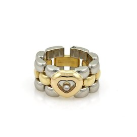 Chopard Happy Diamond 18K Yellow Gold & Stainless Steel Heart Panther Flex Chain Band Size 5.5