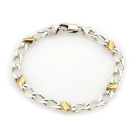 Tiffany & Co. 18K Yellow Gold & 925 Sterling Silver Curb Link Bracelet