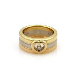 Chopard Happy Diamond 18K Yellow, Rose and White Gold Floating Diamond Heart 3 Band Ring Size 6