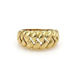 Bulgari 18K Yellow Gold Open Ribbed Design Semi Dome Ring Size 7