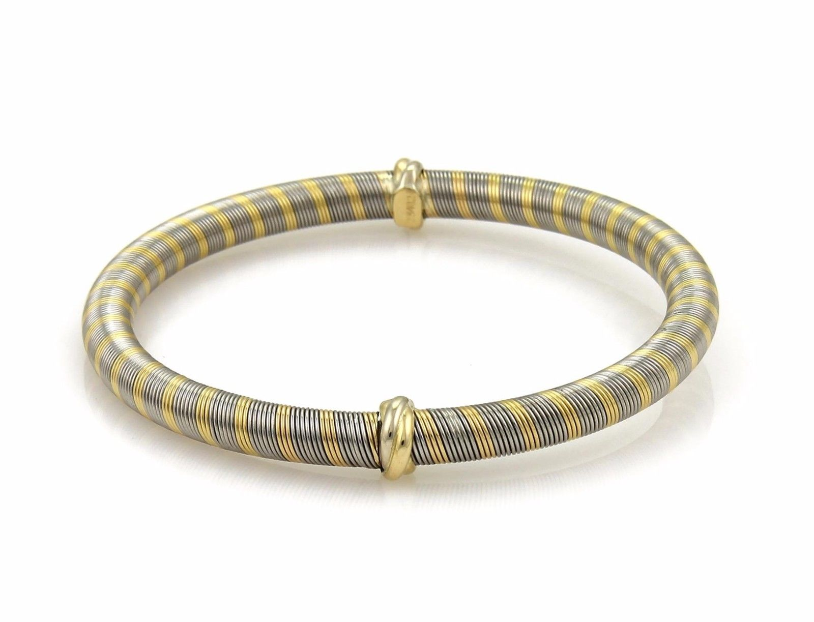 """Image of """"Cartier 18K Yellow Gold & Stainless Steel Wrap Mini Triple Ring Bangle"""""""