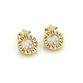 Chopard Happy Diamond 18K Yellow Gold with Pink Tourmaline & Enamel Engraved Round Stud Earrings