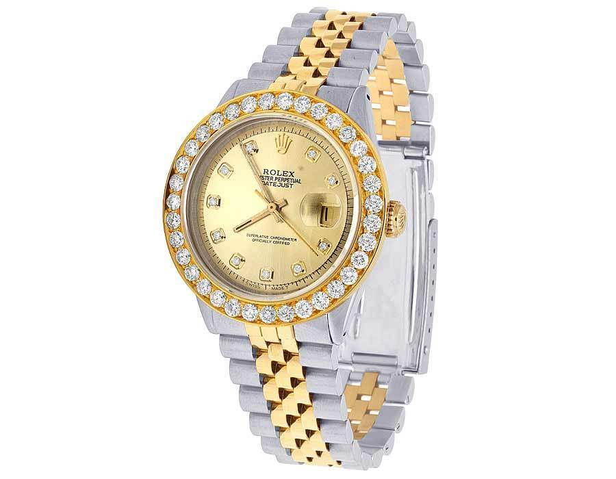 "Image of ""Rolex Datejust 16013 Two Tone 18K/Steel Champagne Dial 5.25ct Diamond"""