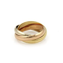 Cartier Trinity 18K Yellow White and Rose Gold Rolling Band Ring Size 9