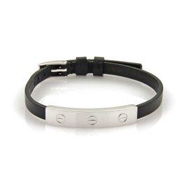 Cartier Love 18K White Gold Slide Bar Leather Belt & Buckle Bracelet Size 9