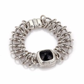David Yurman Albion 925 Sterling Silver with Diamond & Onyx Cable Link Chain Bracelet