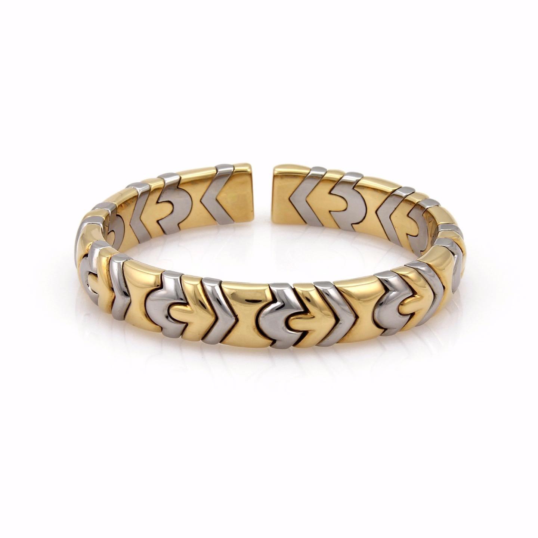 "Image of ""Bulgari Alveare 18K Yellow Gold & Stainless Steel Cuff Band Bracelet"""