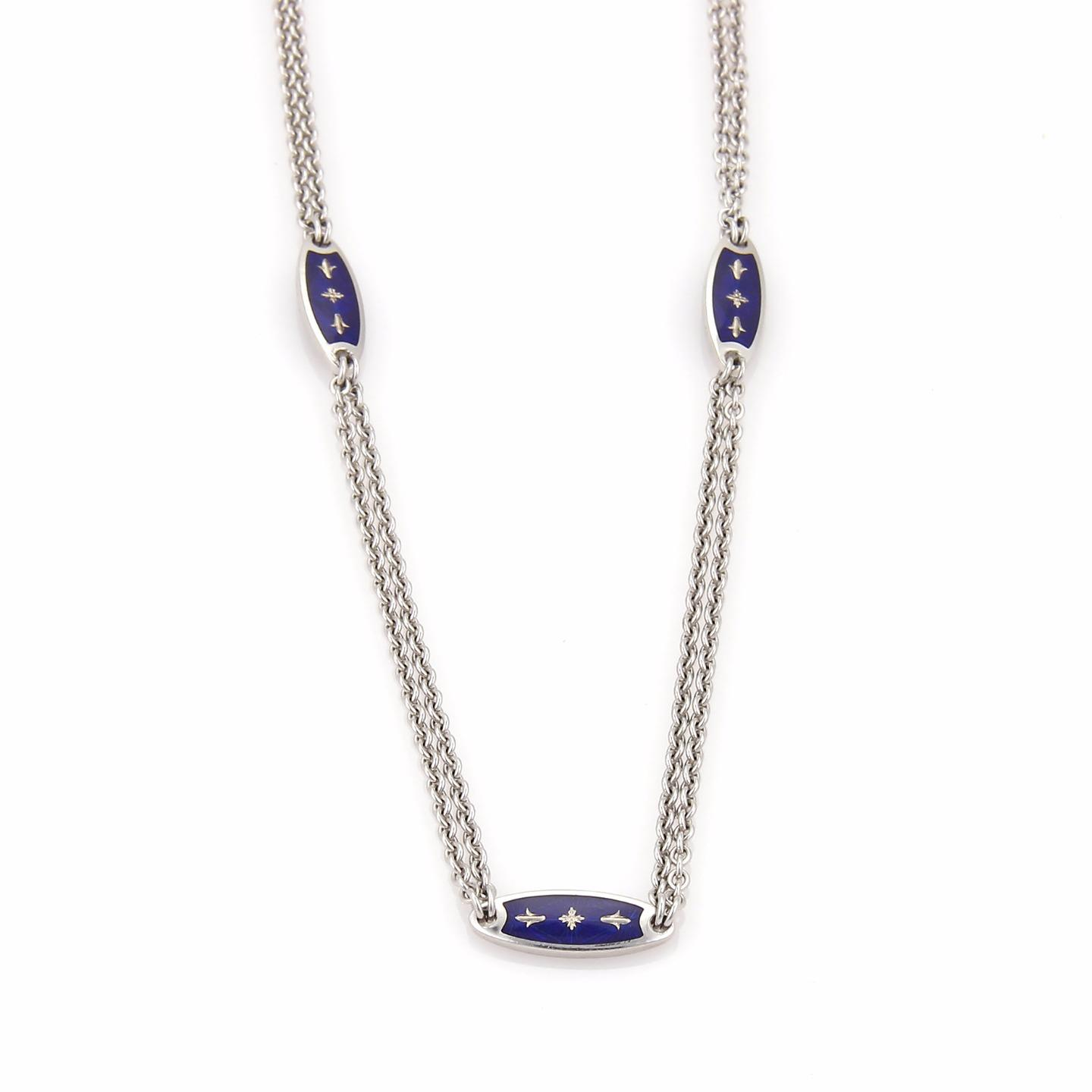 "Image of ""Faberge Fleur De Lis 18K White Gold & Enamel Chain Necklace"""