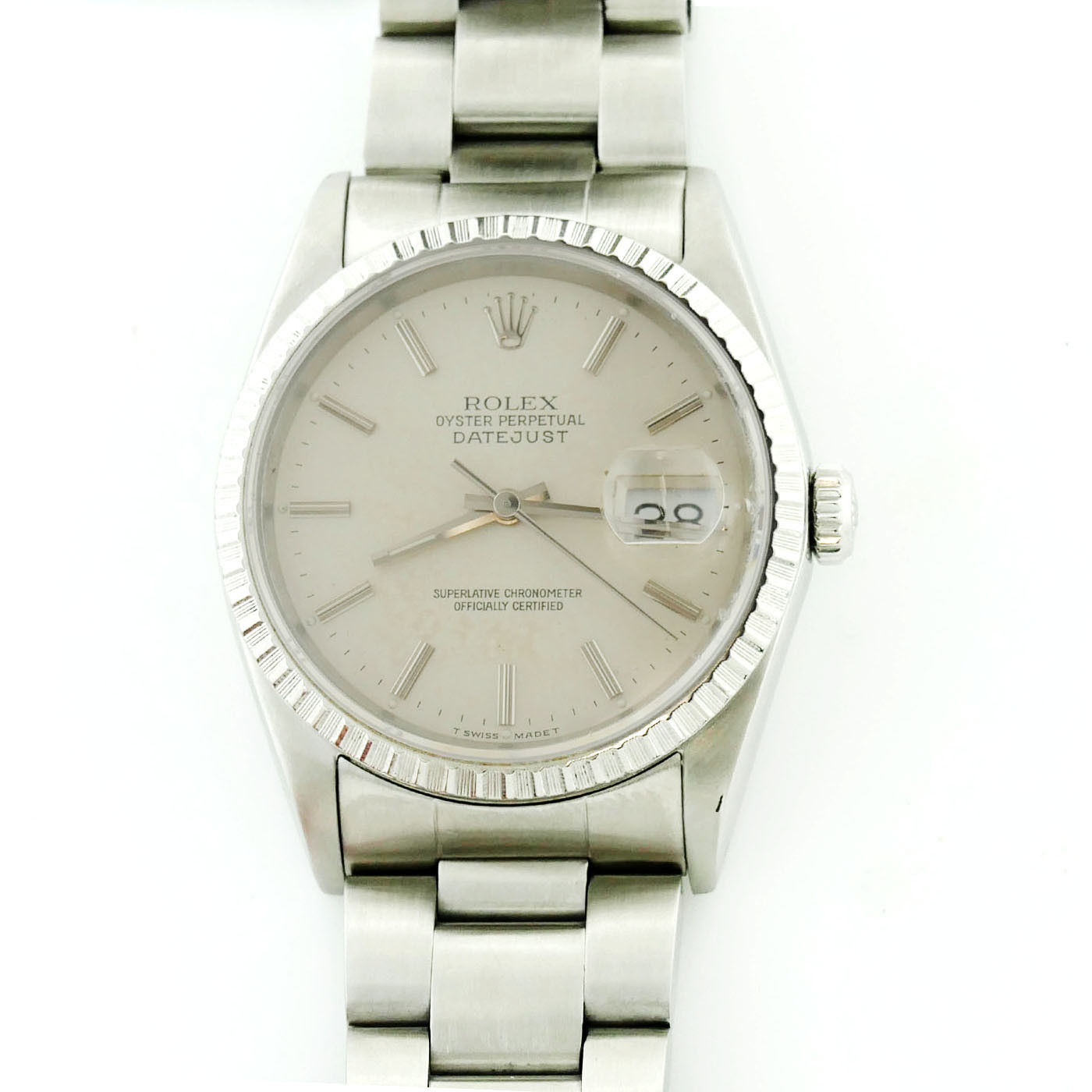 "Image of ""Rolex Datejust 16220 Stainless Steel Silver Dial 36mm Unisex Watch"""