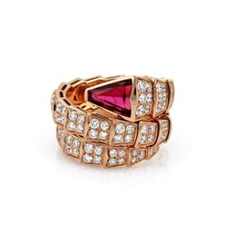 Bulgari 18K Rose Gold 3.70ct Diamond T& ourmaline Snake Wrap Ring Size 6