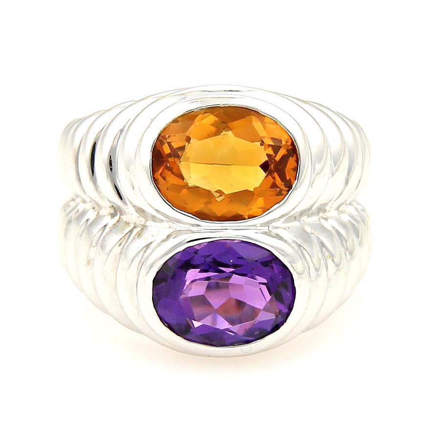 "Image of ""Bulgari 18K White Gold Amethyst & Citrine Stack Ring Size 5.5"""