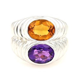 Bulgari 18K White Gold Amethyst & Citrine Stack Ring Size 5.5