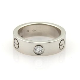 Cartier Love Platinum with Diamond Band Ring Size 5