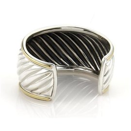 David Yurman Sterling Silver and 18K Yellow Gold Wide Cable Cuff Band Bracelet