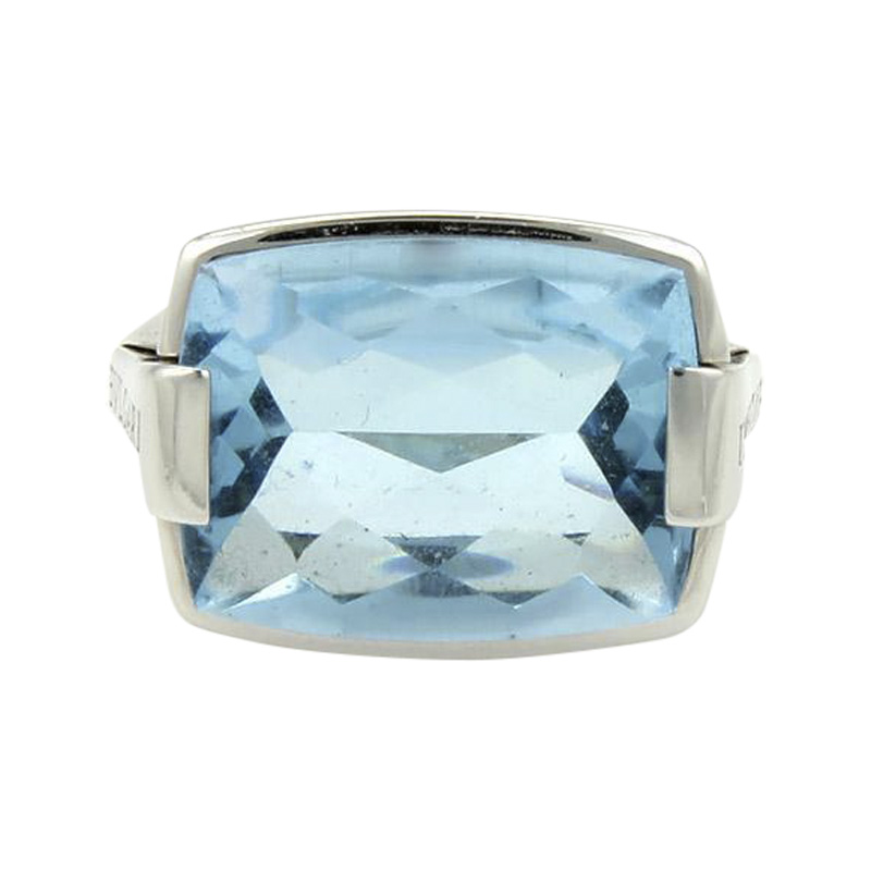 "Image of ""Bulgari 18K White Gold 10.00ct Rectangular Blue Topaz Cocktail Ring"""