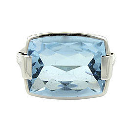 Bulgari 18K White Gold 10.00ct Rectangular Blue Topaz Cocktail Ring Size 6.5