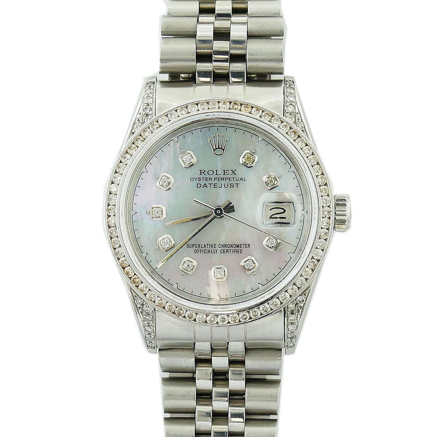 """Image of """"Rolex Date 16030 Stainless Steel Custom Grey Mother Of Pearl Dial with"""""""