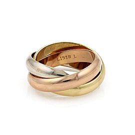 Cartier Trinity 18K Rose, White and Yellow Gold Rolling Band Ring Size 7.5