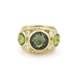 David Yurman 18K Yellow Gold with 6.00ct Peridot & 0.16ct Diamond Cable Dome Band Ring Size 5