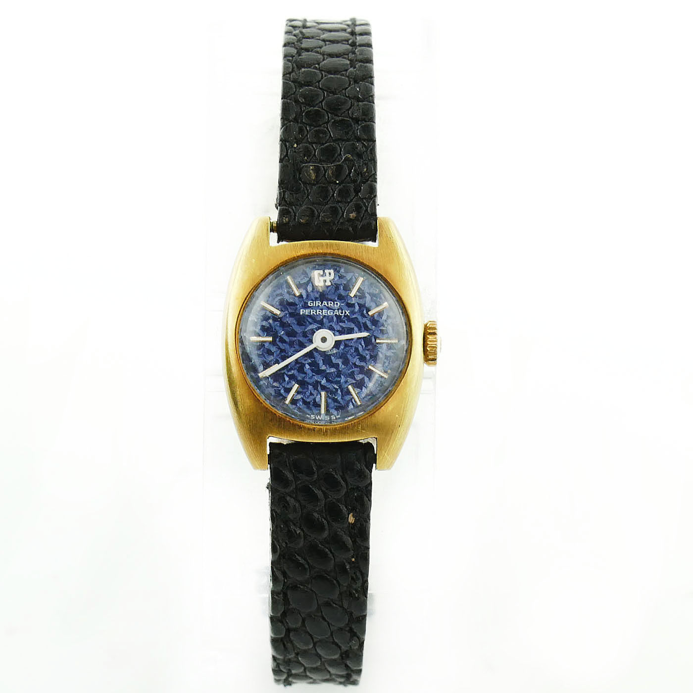 "Image of ""Girard Perregaux Gold Plated & Blue Textured Dial Vintage 19mm Womens"""