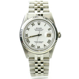 Rolex Datejust 16014 Stainless Steel White Dial Vintage 34mm Mens Watch