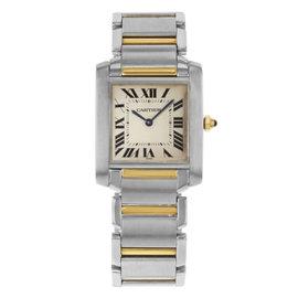 Cartier Tank Francaise W2TA0003 Stainless Steel & 18K Yellow Gold Quartz 25mm Womens Watch
