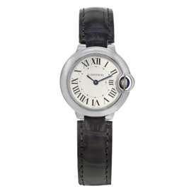 Cartier Ballon Bleu W69018Z4 Stainless Steel & Leather Quartz 28mm Womens Watch