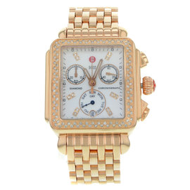 Michele Deco MWW06P000109 18K Rose Gold Plated Stainless Steel Quartz 33mm Womens Watch