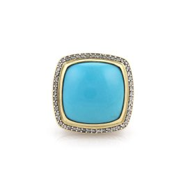 David Yurman Albion 925 Sterling Silver / 18K Yellow Gold with Diamond & Turquoise Ring Size 7