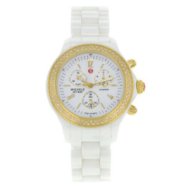 Michele Jetway MWW17B000007 Ceramic Quartz 40mm Womens Watch