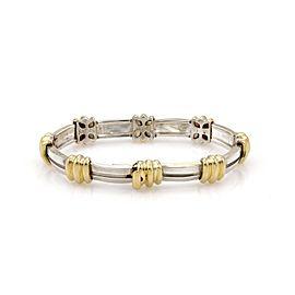 Tiffany & Co. Atlas 925 Sterling Silver & 18K Yellow Gold Vintage Grooved Link Bracelet