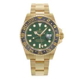 Rolex GMT-Master II 116718G 18K Yellow Gold Green Dial Automatic 40mm Mens Watch