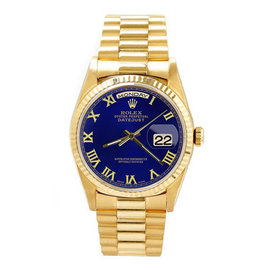 Rolex Day Date Oyster Perpetual 18K Yellow Gold Blue Roman Dial 36mm Mens Watch