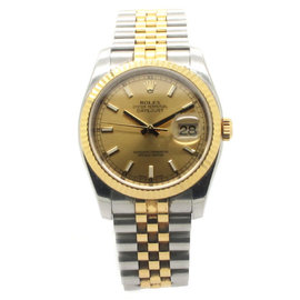 Rolex DateJust 116233 18k Yellow Gold And Stainless Steel Champagne Dial 36mm Mens Watch