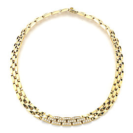 Cartier Panthere Three Row 18K Yellow Gold and Diamond Necklace