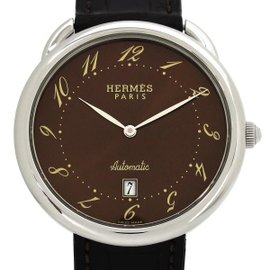 Hermes Arceau AR4 .810 Stainless Steel and Leather Automatic 42mm Mens Watch