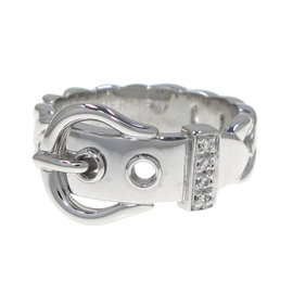 Hermes 18K White Gold Ring Size 4.75